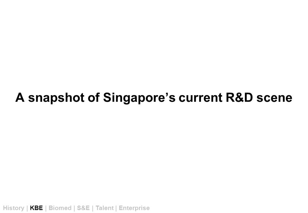 A snapshot of Singapore's current R&D scene History | KBE | Biomed | S&E | Talent | Enterprise