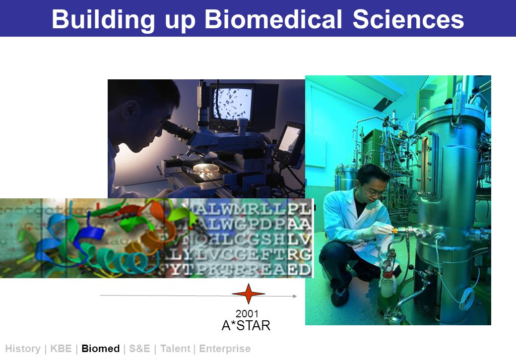 Building up Biomedical Sciences A*STAR 2001 History | KBE | Biomed | S&E | Talent | Enterprise