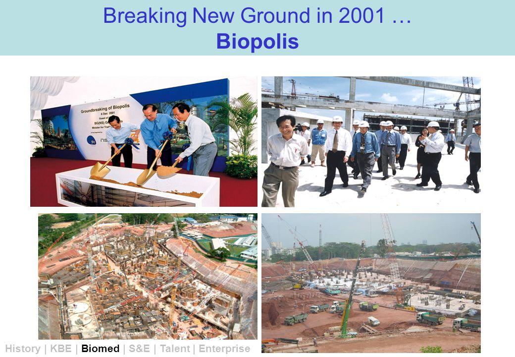 Breaking New Ground in 2001 … Biopolis History | KBE | Biomed | S&E | Talent | Enterprise