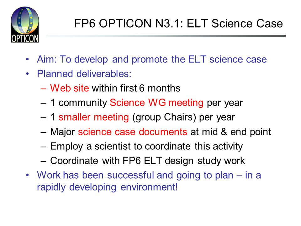 FP6 OPTICON N3.1: ELT Science Case Aim: To develop and promote the ELT science case Planned deliverables: –Web site within first 6 months –1 community Science WG meeting per year –1 smaller meeting (group Chairs) per year –Major science case documents at mid & end point –Employ a scientist to coordinate this activity –Coordinate with FP6 ELT design study work Work has been successful and going to plan – in a rapidly developing environment!