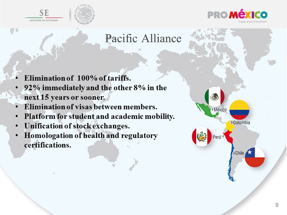 Pacific Alliance 9 Elimination of 100% of tariffs.