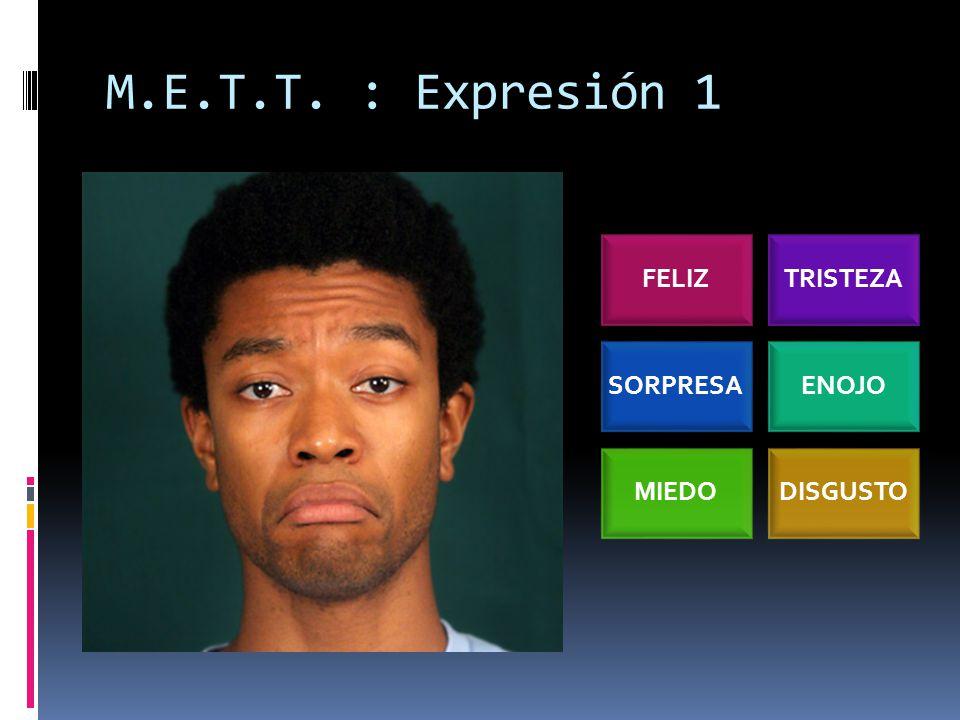 M.E.T.T. : Expresión 1 FELIZTRISTEZA SORPRESAENOJO MIEDODISGUSTO