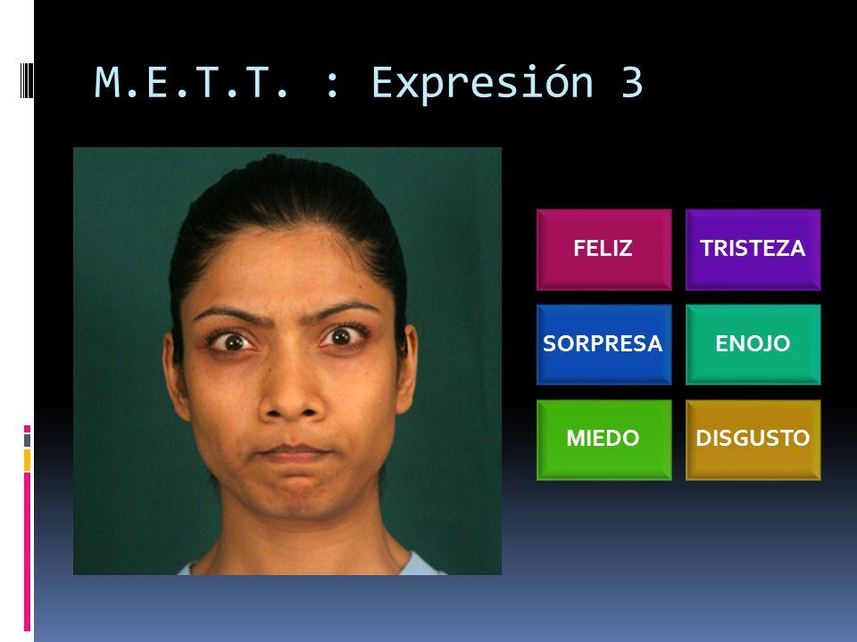 M.E.T.T. : Expresión 3 FELIZTRISTEZA SORPRESAENOJO MIEDODISGUSTO