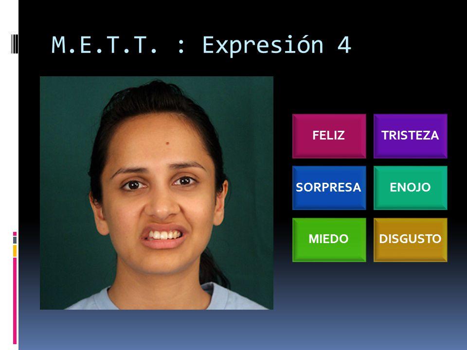 M.E.T.T. : Expresión 4 FELIZTRISTEZA SORPRESAENOJO MIEDODISGUSTO