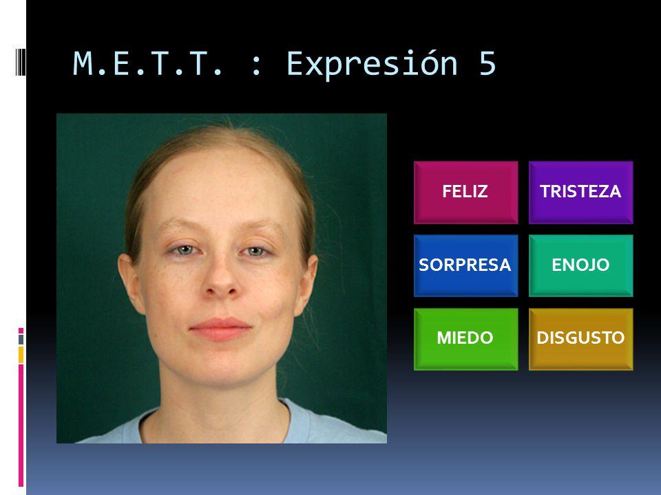 M.E.T.T. : Expresión 5 FELIZTRISTEZA SORPRESAENOJO MIEDODISGUSTO