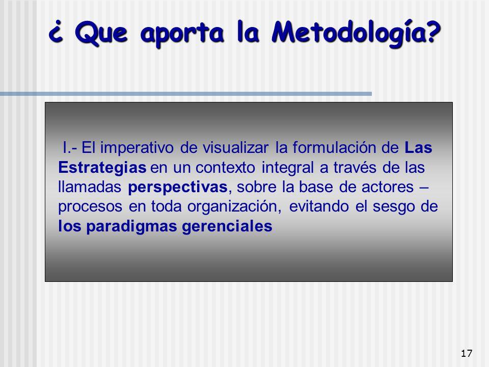17 I.- El imperativo de visualizar la formulación de Las Estrategias en un contexto integral a través de las llamadas perspectivas, sobre la base de a