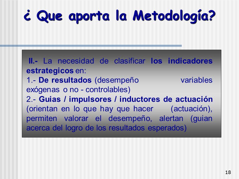 18 II.- La necesidad de clasificar los indicadores estrategicos en: 1.- De resultados (desempeño variables exógenas o no - controlables) 2.- Guias / i
