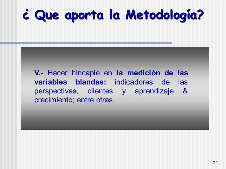 21 V.- Hacer hincapié en la medición de las variables blandas: indicadores de las perspectivas, clientes y aprendizaje & crecimiento; entre otras. ¿ Q