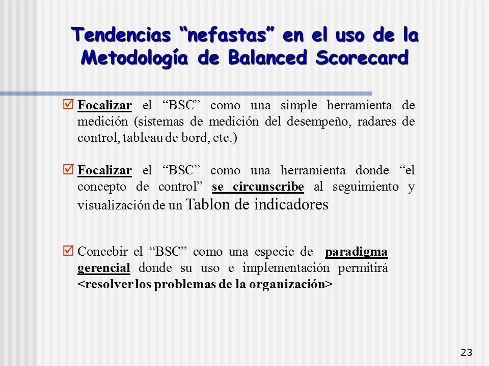"""23  Focalizar el """"BSC"""" como una simple herramienta de medición (sistemas de medición del desempeño, radares de control, tableau de bord, etc.)  Foca"""