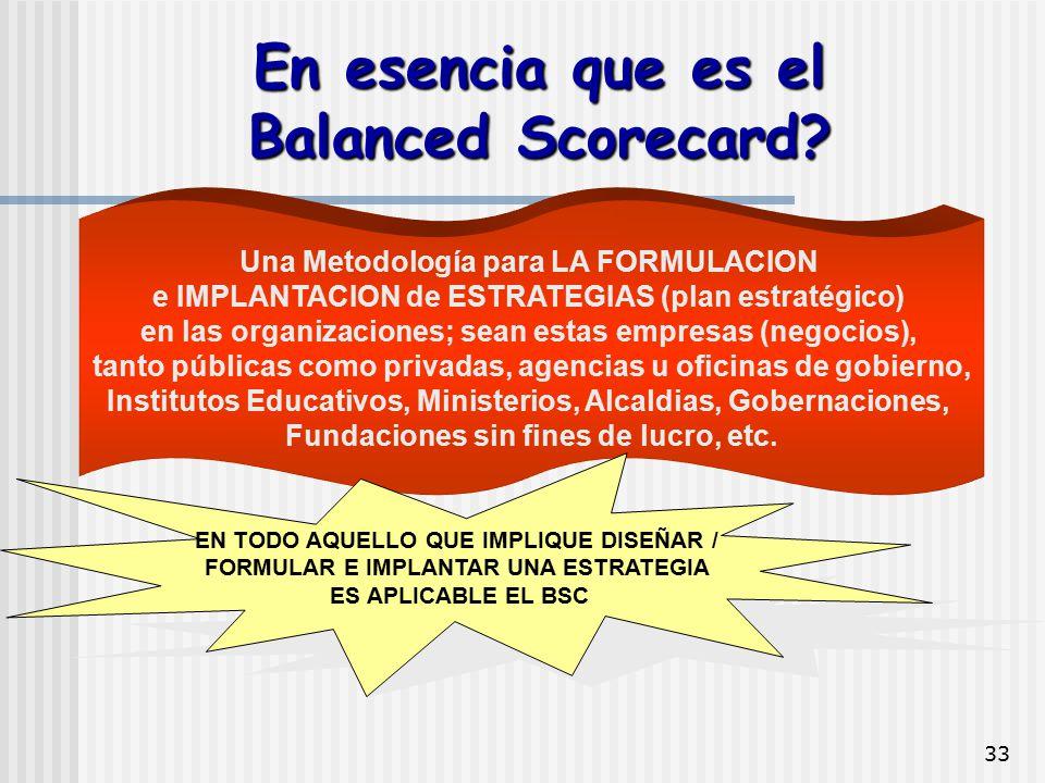 33 En esencia que es el Balanced Scorecard? Una Metodología para LA FORMULACION e IMPLANTACION de ESTRATEGIAS (plan estratégico) en las organizaciones