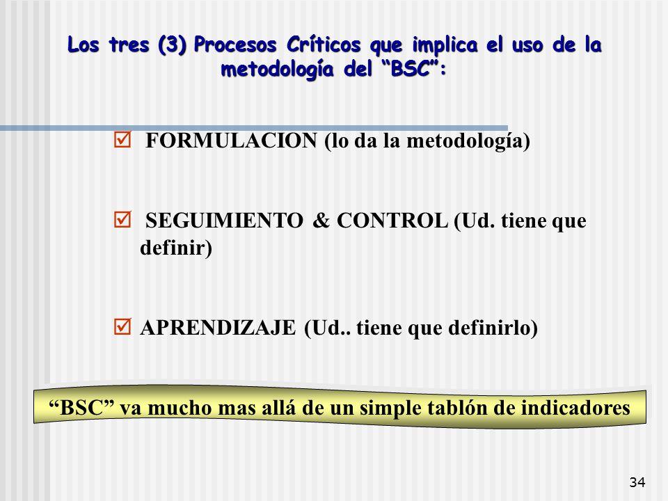 """34 Los tres (3) Procesos Críticos que implica el uso de la metodología del """"BSC"""":  FORMULACION (lo da la metodología)  SEGUIMIENTO & CONTROL (Ud. ti"""