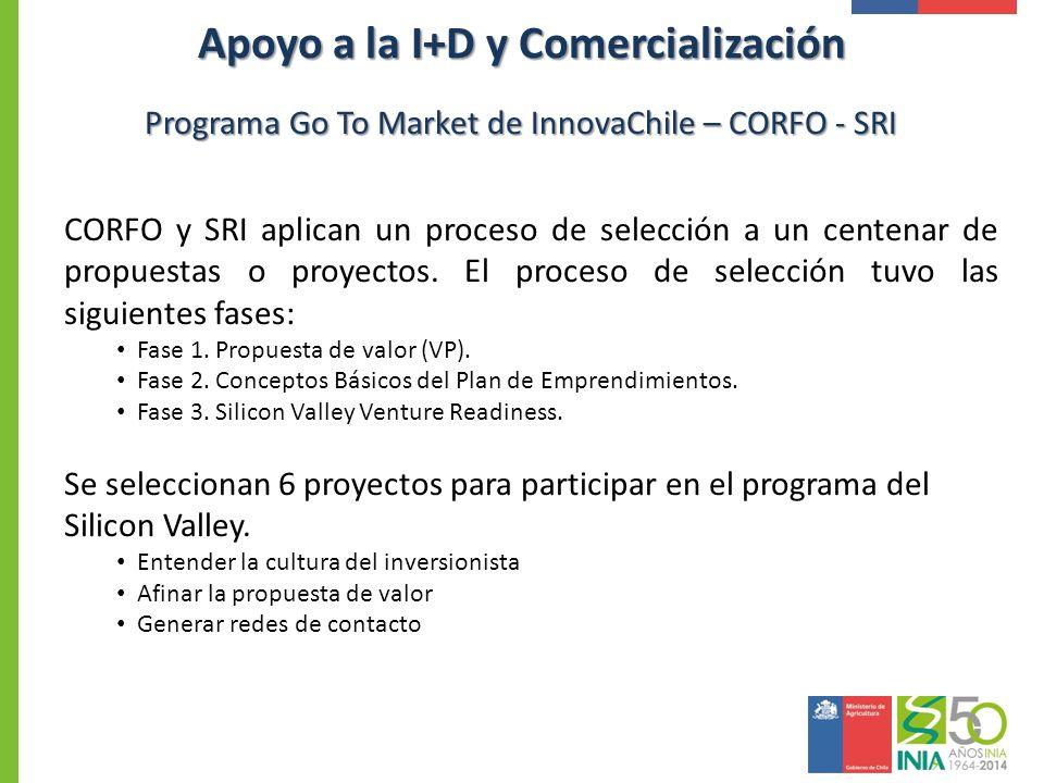 Programa Go To Market de InnovaChile – CORFO - SRI CORFO y SRI aplican un proceso de selección a un centenar de propuestas o proyectos. El proceso de