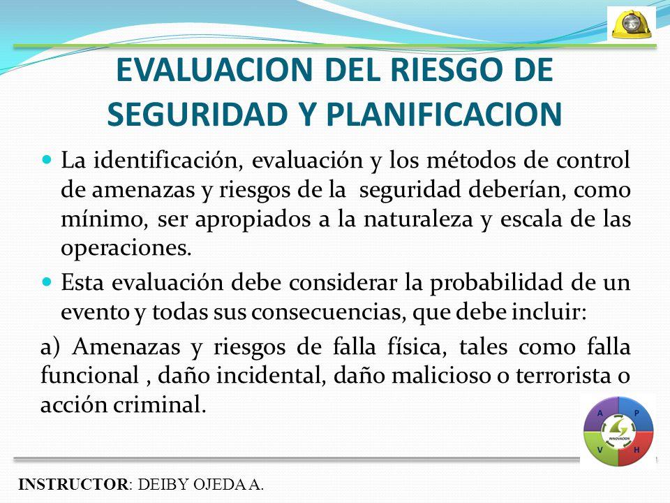 EVALUACION DEL RIESGO DE SEGURIDAD Y PLANIFICACION La identificación, evaluación y los métodos de control de amenazas y riesgos de la seguridad deberían, como mínimo, ser apropiados a la naturaleza y escala de las operaciones.
