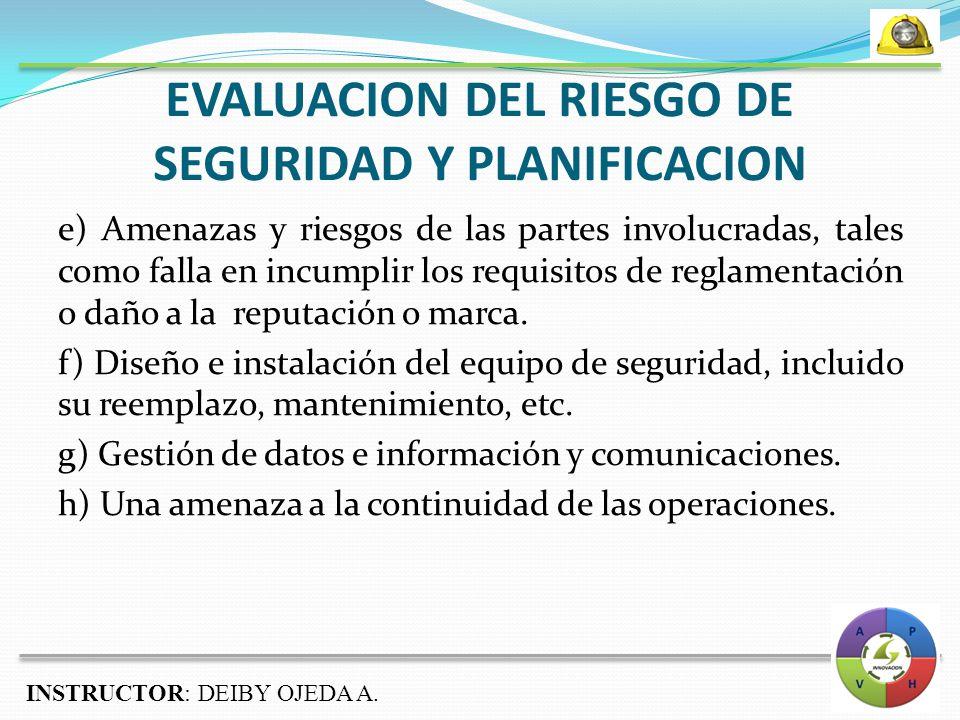 EVALUACION DEL RIESGO DE SEGURIDAD Y PLANIFICACION e) Amenazas y riesgos de las partes involucradas, tales como falla en incumplir los requisitos de reglamentación o daño a la reputación o marca.