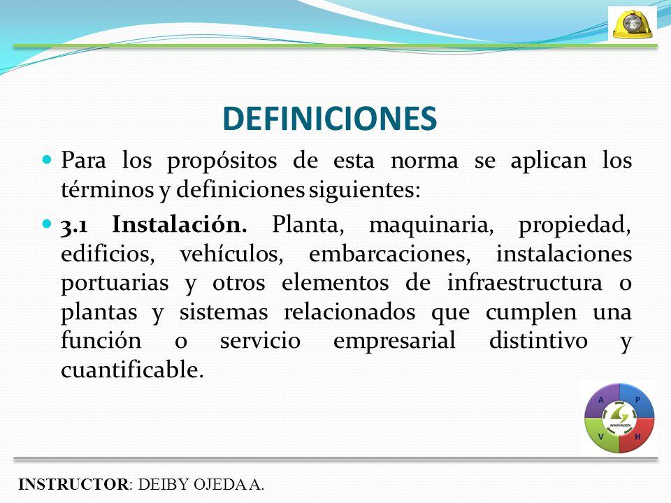 DEFINICIONES Para los propósitos de esta norma se aplican los términos y definiciones siguientes: 3.1 Instalación.