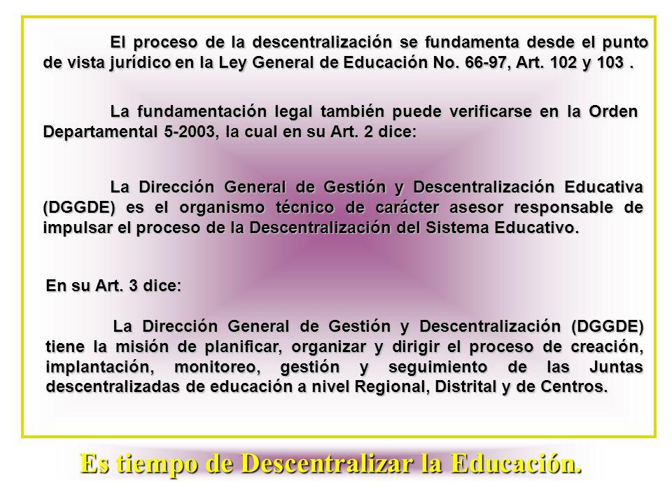 El proceso de la descentralización se fundamenta desde el punto de vista jurídico en la Ley General de Educación No. 66-97, Art. 102 y 103. La fundame