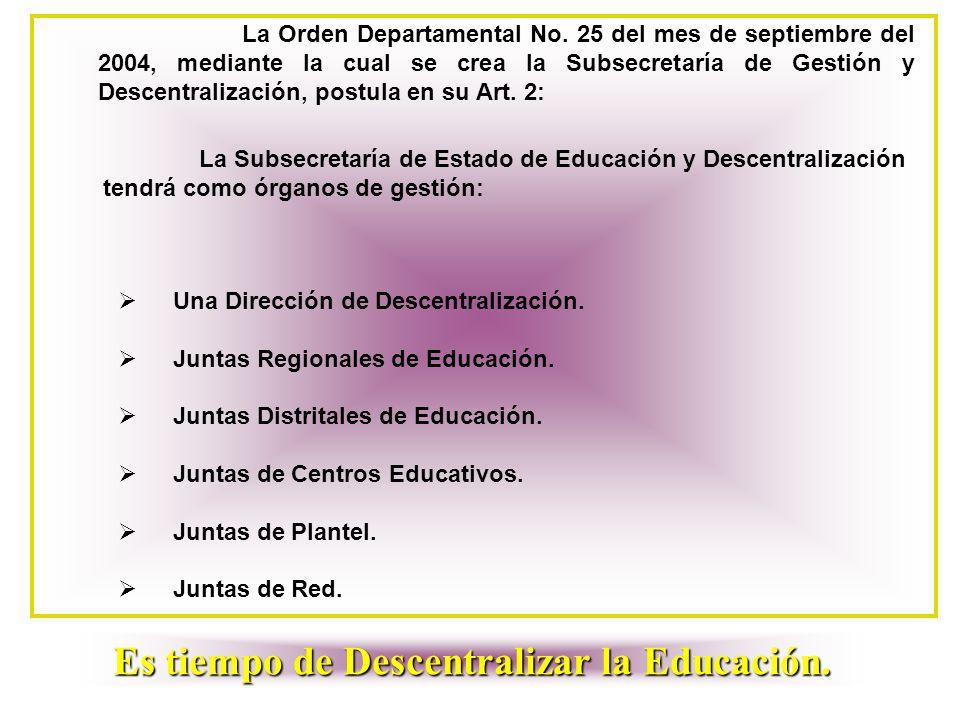 La Orden Departamental No. 25 del mes de septiembre del 2004, mediante la cual se crea la Subsecretaría de Gestión y Descentralización, postula en su
