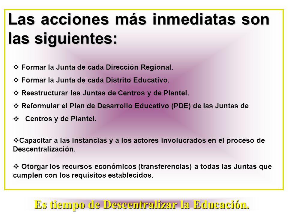 Las acciones más inmediatas son las siguientes:  Formar la Junta de cada Dirección Regional.  Formar la Junta de cada Distrito Educativo.  Reestruc