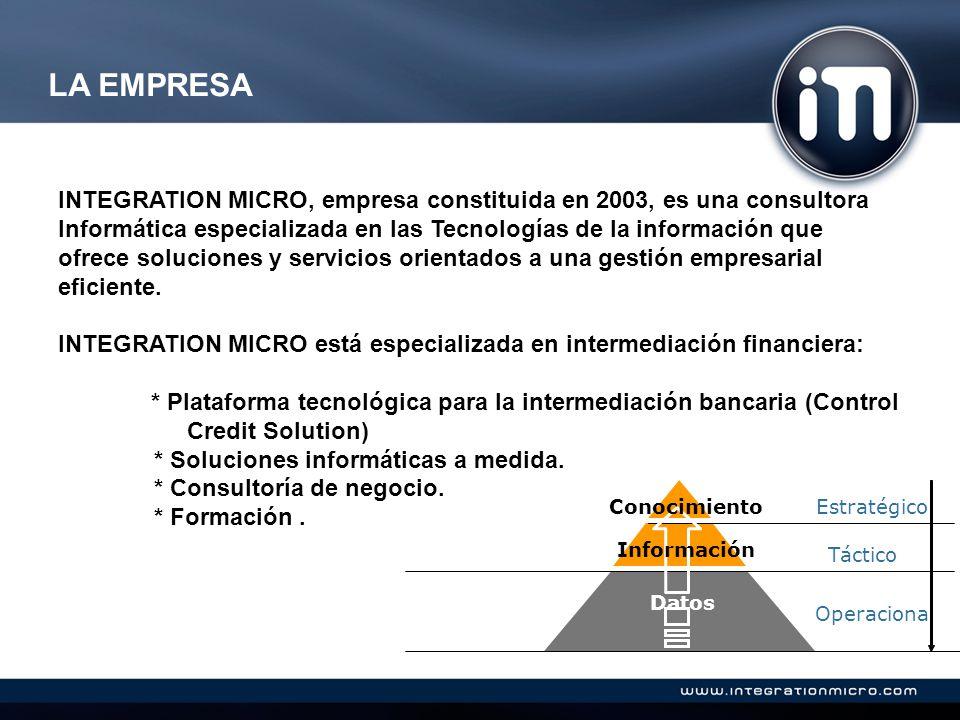LA EMPRESA INTEGRATION MICRO, empresa constituida en 2003, es una consultora Informática especializada en las Tecnologías de la información que ofrece soluciones y servicios orientados a una gestión empresarial eficiente.