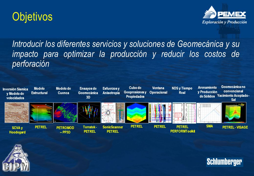 Objetivos Introducir los diferentes servicios y soluciones de Geomecánica y su impacto para optimizar la producción y reducir los costos de perforación SCVA y Hoodegard PETREL Terratek - PETREL PETROMOD – PP3D PETREL - VISAGE SonicScanner PETREL SMA PETREL PERFORMToolkit Inversión Sísmica y Modelo de velocidades Modelo Estructural Ensayos de Geomecánica 3D Modelo de Cuenca Geomecánica no convencional Yacimiento Acoplado - Sal Esfuerzos y Anisotropía Cubo de Geopresiones y Propiedades Ventana Operacional Arenamiento y Producción de Sólidos NDS y Tiempo Real