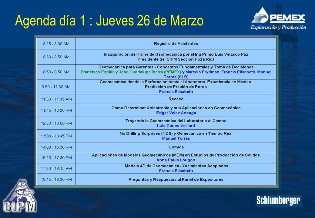 Agenda día 1 : Jueves 26 de Marzo