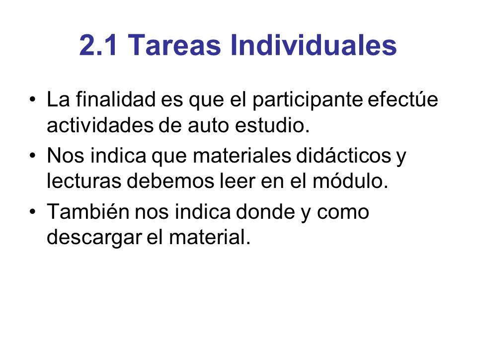 2.1 Tareas Individuales La finalidad es que el participante efectúe actividades de auto estudio. Nos indica que materiales didácticos y lecturas debem