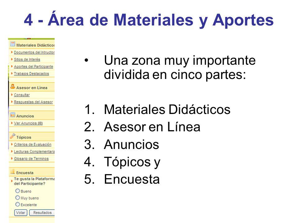 4 - Área de Materiales y Aportes Una zona muy importante dividida en cinco partes: 1.Materiales Didácticos 2.Asesor en Línea 3.Anuncios 4.Tópicos y 5.