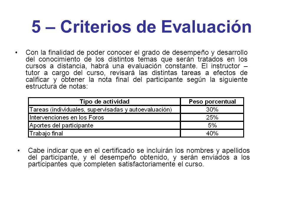 5 – Criterios de Evaluación Con la finalidad de poder conocer el grado de desempeño y desarrollo del conocimiento de los distintos temas que serán tra