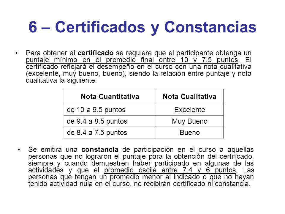 Para obtener el certificado se requiere que el participante obtenga un puntaje mínimo en el promedio final entre 10 y 7.5 puntos. El certificado refle