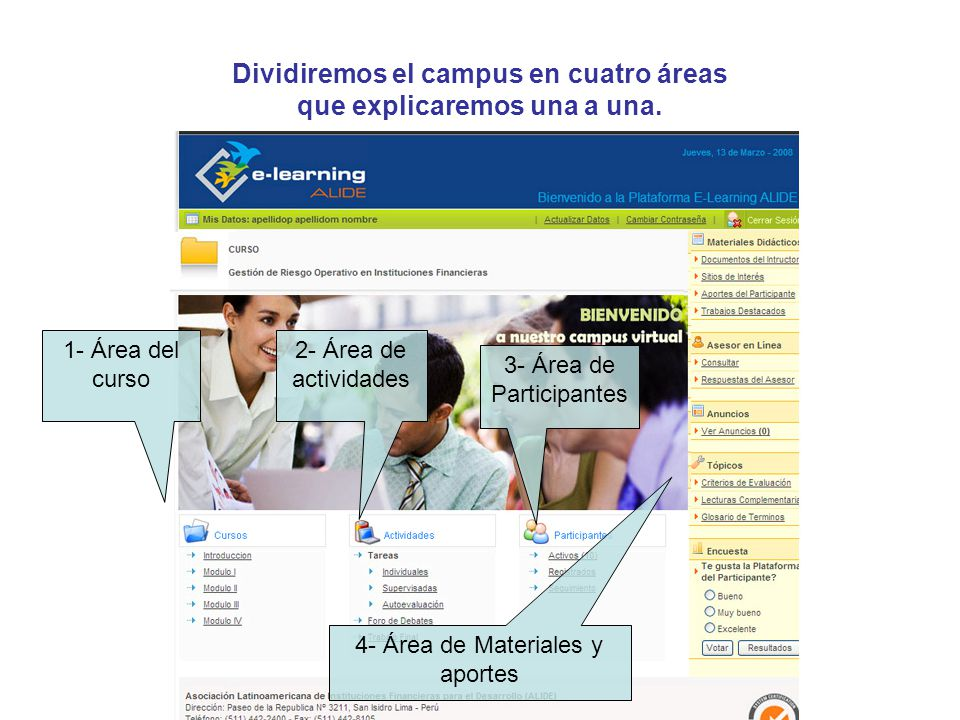 Dividiremos el campus en cuatro áreas que explicaremos una a una. 1- Área del curso 2- Área de actividades 3- Área de Participantes 4- Área de Materia