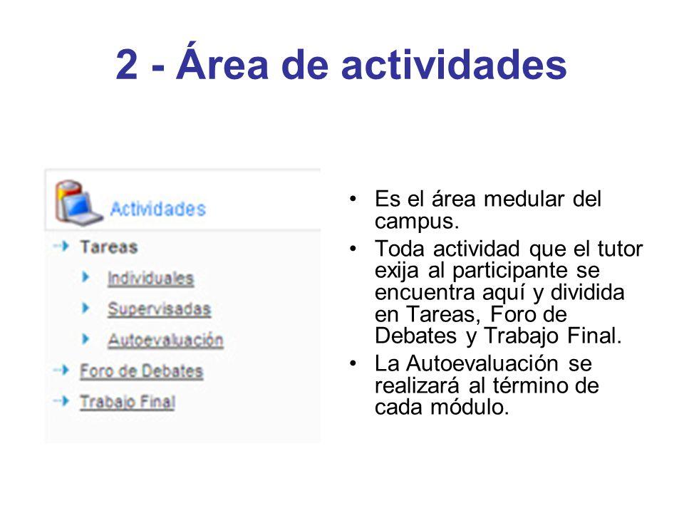 2 - Área de actividades Es el área medular del campus. Toda actividad que el tutor exija al participante se encuentra aquí y dividida en Tareas, Foro