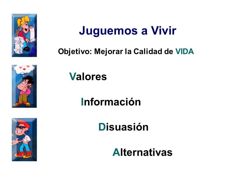 Juguemos a Vivir Objetivo: Mejorar la Calidad de VIDA Valores Información Disuasión Alternativas