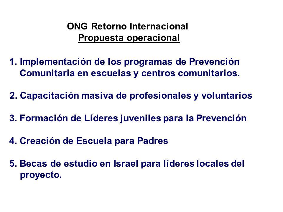 ONG Retorno Internacional Propuesta operacional 1.Implementación de los programas de Prevención Comunitaria en escuelas y centros comunitarios.