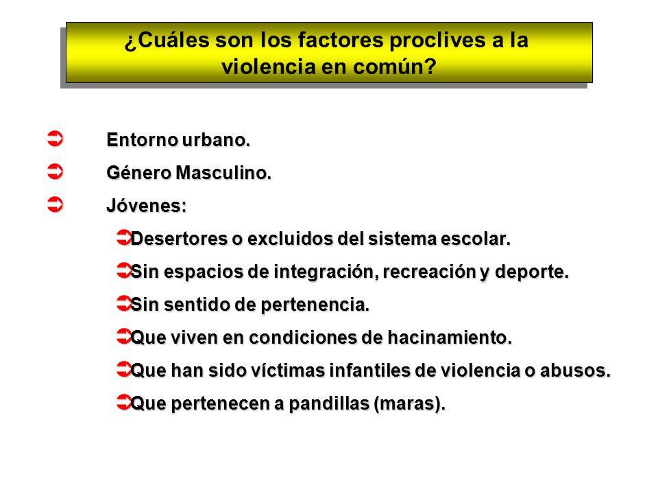 ¿Cuáles son los factores proclives a la violencia en común.