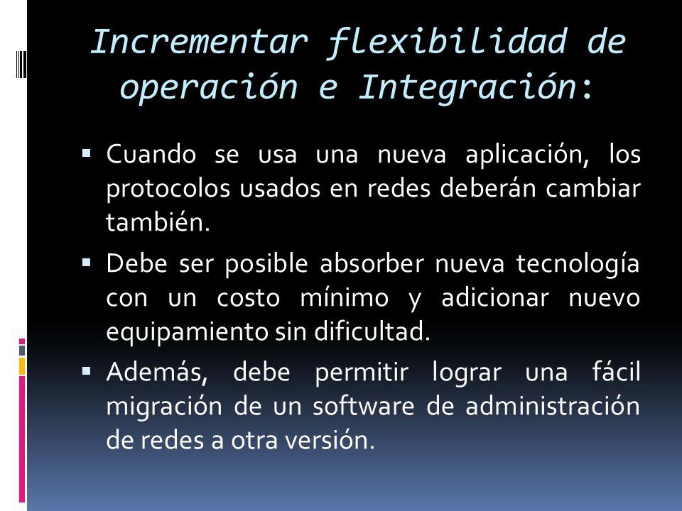 Alta eficiencia  Debemos incrementar la eficiencia en detrimento de otro objetivos de la administración pero dependerá de otros factores tales como utilización, costo operacional, costo de migración y flexibilidad.