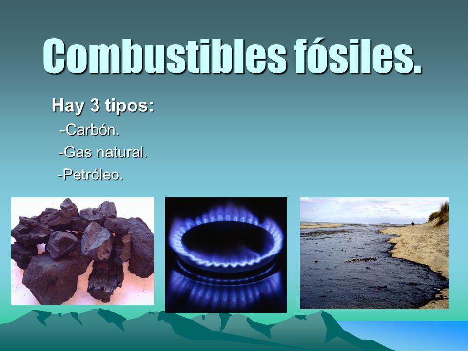 Combustibles fósiles. Hay 3 tipos: Hay 3 tipos:-Carbón. -Gas natural. -Gas natural.-Petróleo.