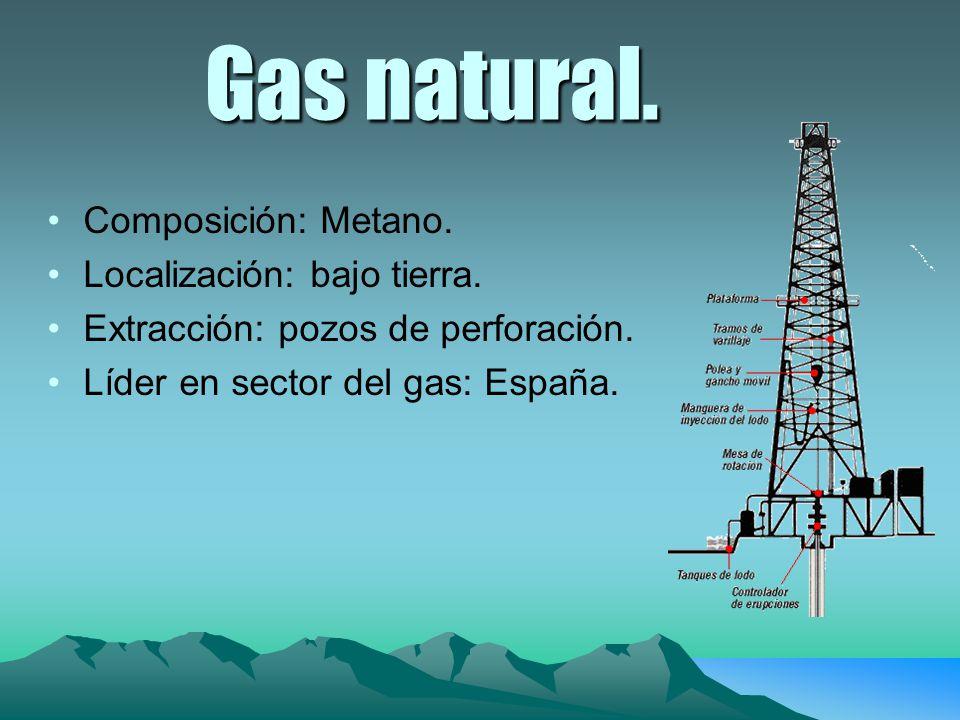 Gas natural. Composición: Metano. Localización: bajo tierra. Extracción: pozos de perforación. Líder en sector del gas: España.