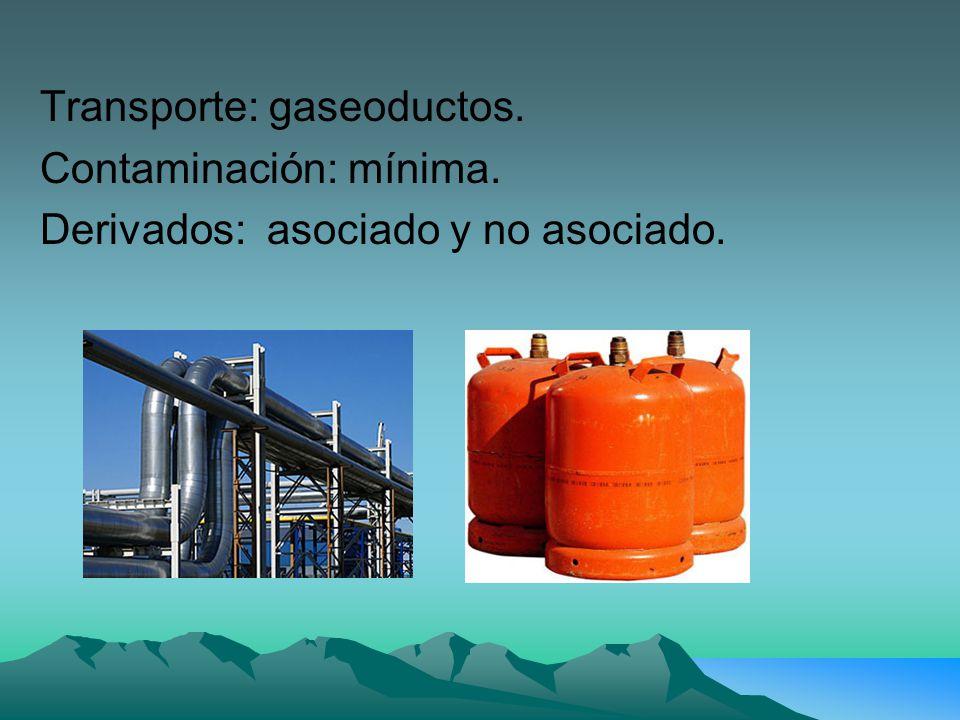 Transporte: gaseoductos. Contaminación: mínima. Derivados: asociado y no asociado.