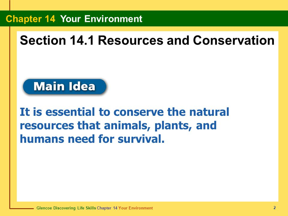 Glencoe Discovering Life Skills Chapter 14 Your Environment Chapter 14 Your Environment 3 Content Vocabulary natural resource pollution soil fossil fuel conservation Academic Vocabulary key efficient