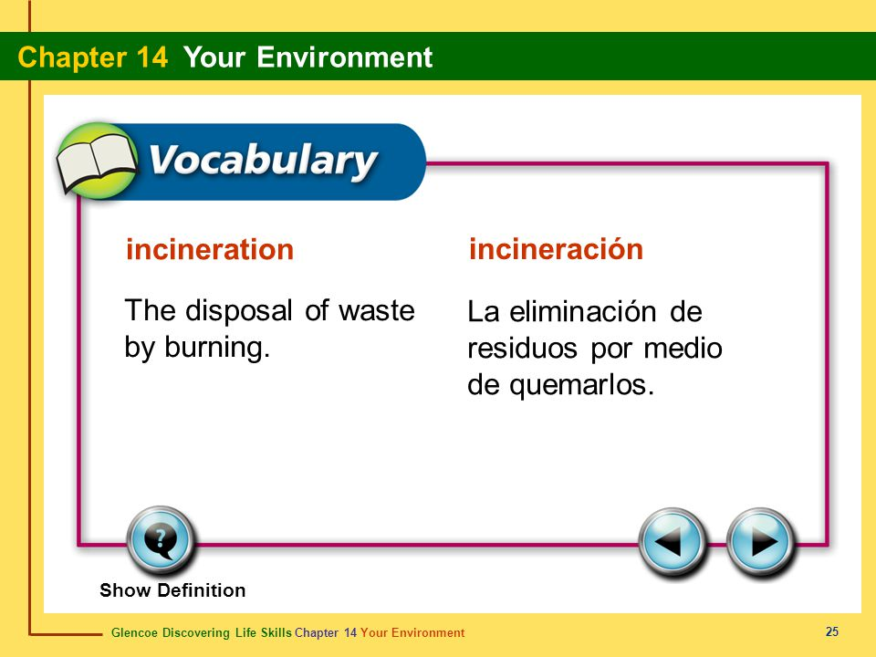 Glencoe Discovering Life Skills Chapter 14 Your Environment Chapter 14 Your Environment 25 incineration incineración The disposal of waste by burning.