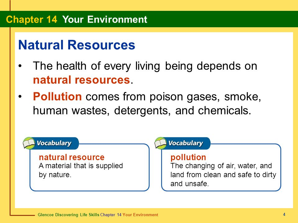 Glencoe Discovering Life Skills Chapter 14 Your Environment Chapter 14 Your Environment 5 Natural Resources Water is the body's most essential nutrient.