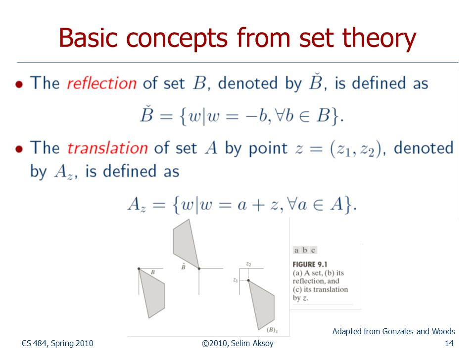 CS 484, Spring 2010©2010, Selim Aksoy14 Basic concepts from set theory Adapted from Gonzales and Woods