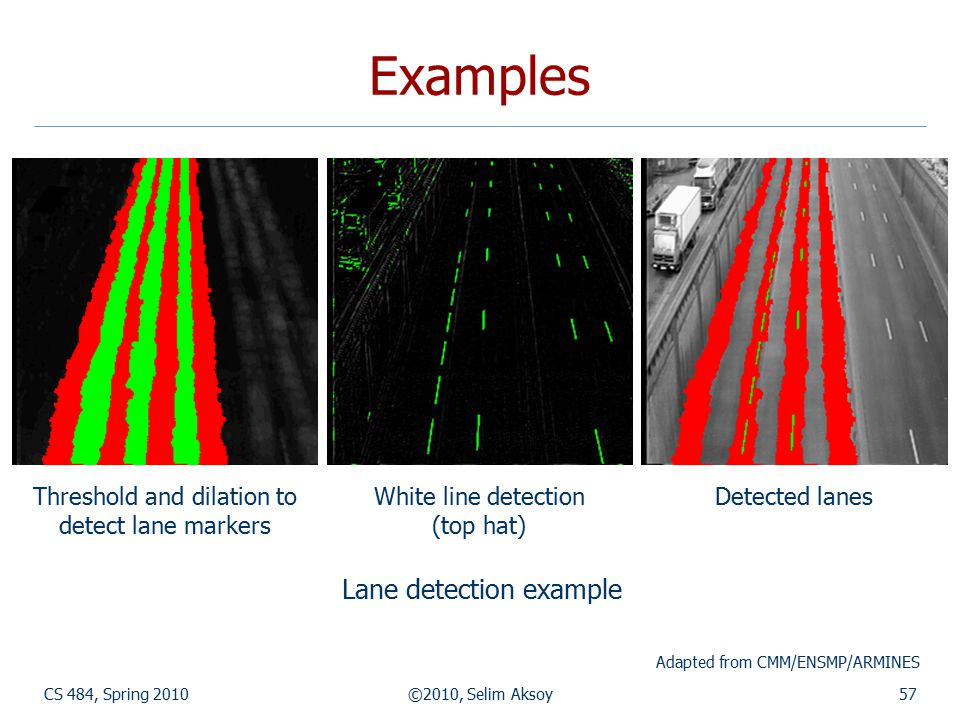 Examples CS 484, Spring 2010©2010, Selim Aksoy57 Threshold and dilation to detect lane markers White line detection (top hat) Detected lanes Lane dete