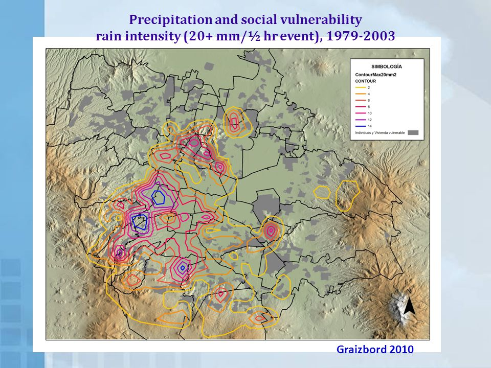 Precipitation and social vulnerability rain intensity (20+ mm/½ hr event), 1979-2003 Graizbord 2010