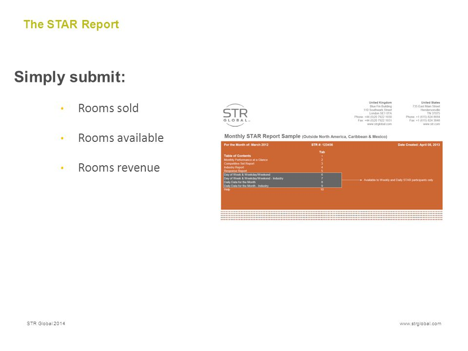 STR Global 2014www.strglobal.com The STAR Report Simply submit: Rooms sold Rooms available Rooms revenue