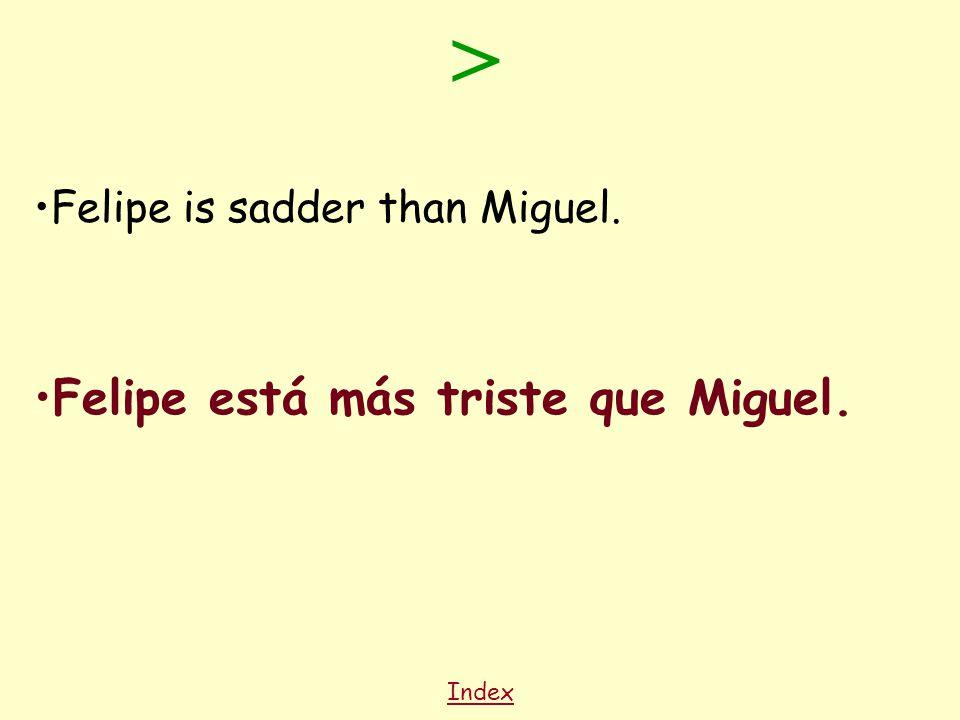 Index Felipe is sadder than Miguel. Felipe está más triste que Miguel. >