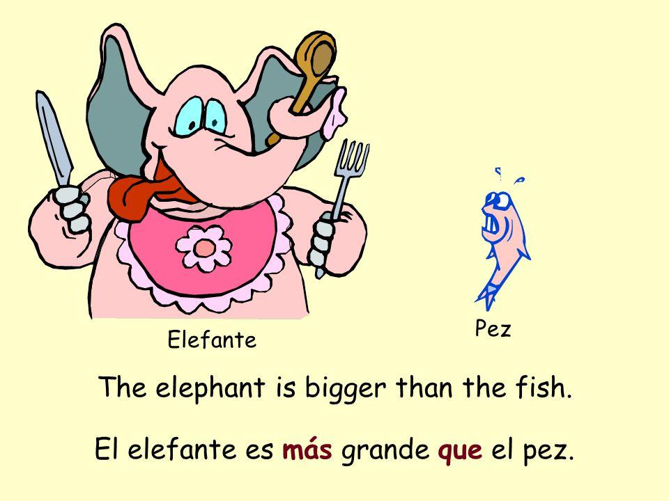 The elephant is bigger than the fish. Elefante Pez El elefante es más grande que el pez.