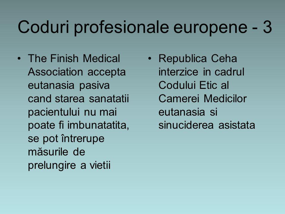 Coduri profesionale europene - 3 The Finish Medical Association accepta eutanasia pasiva cand starea sanatatii pacientului nu mai poate fi imbunatatita, se pot întrerupe măsurile de prelungire a vietii Republica Ceha interzice in cadrul Codului Etic al Camerei Medicilor eutanasia si sinuciderea asistata