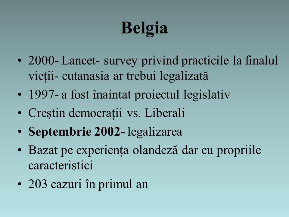 Belgia 2000- Lancet- survey privind practicile la finalul vieţii- eutanasia ar trebui legalizată 1997- a fost înaintat proiectul legislativ Creştin democraţii vs.