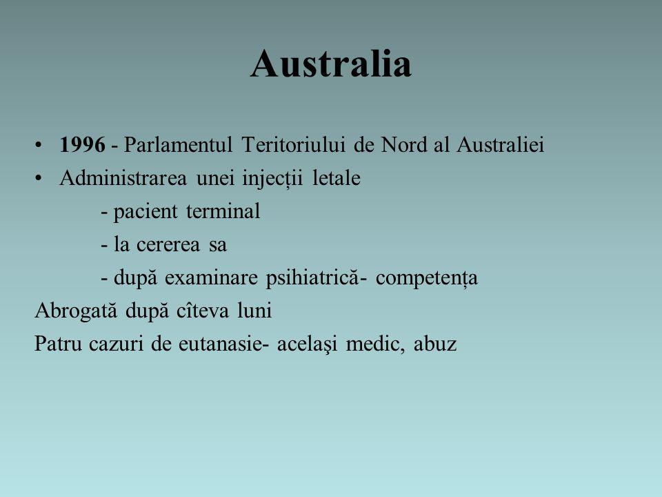 Australia 1996 - Parlamentul Teritoriului de Nord al Australiei Administrarea unei injecţii letale - pacient terminal - la cererea sa - după examinare psihiatrică- competenţa Abrogată după cîteva luni Patru cazuri de eutanasie- acelaşi medic, abuz